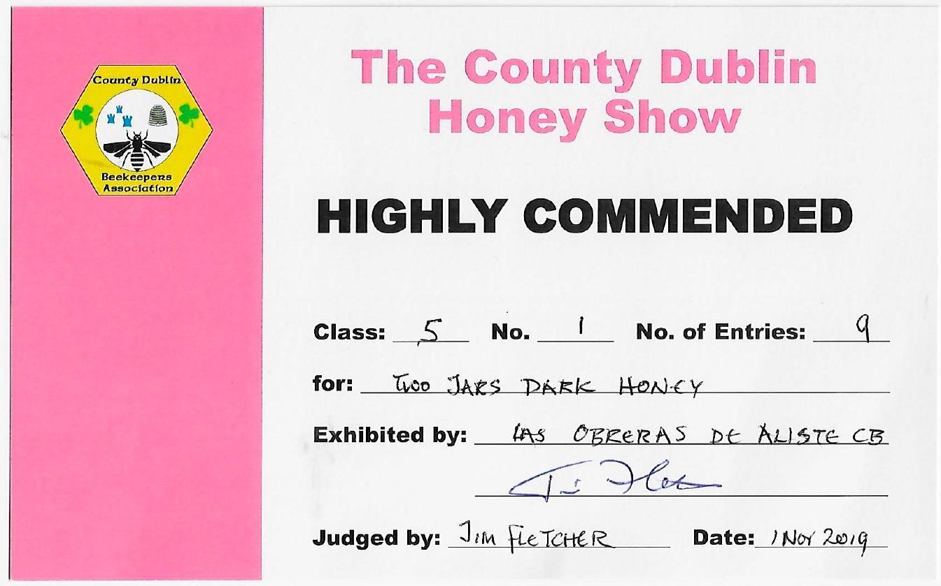 Highly Commended certificate Ireland 2019 Las Obreras de Aliste CB Artesanos de la Miel Aliste Gallegos del Campo Artesanos de la Miel
