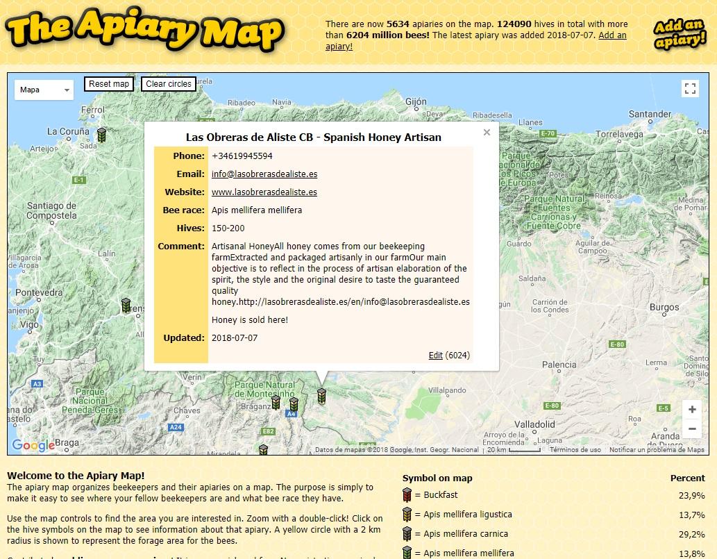 apiary map Las Obreras de Aliste Artesanos de la miel Zamora Spain