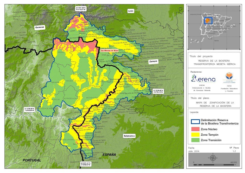 Mapa de la Reserva de la Biosfera Meseta Ibérica