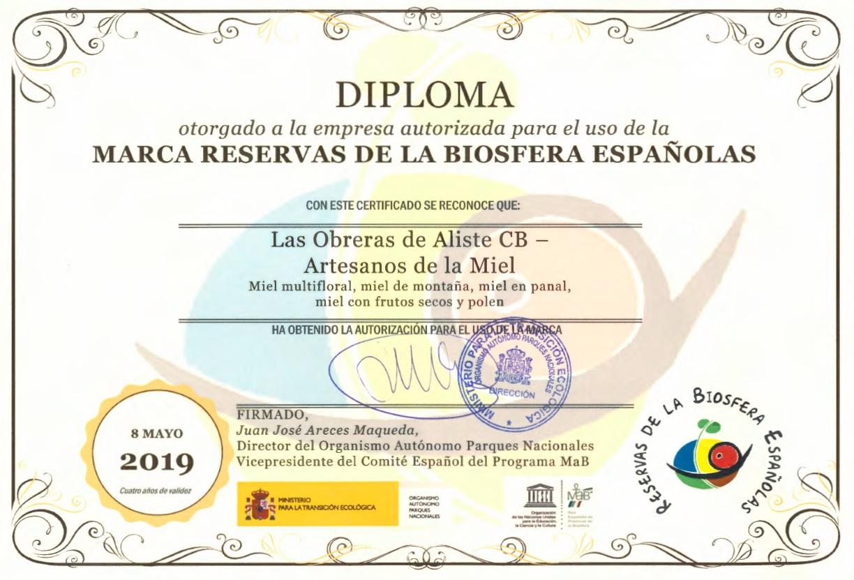Certificado Reservas de la Biosfera Españolas LAS OBRERAS DE ALISTE CB